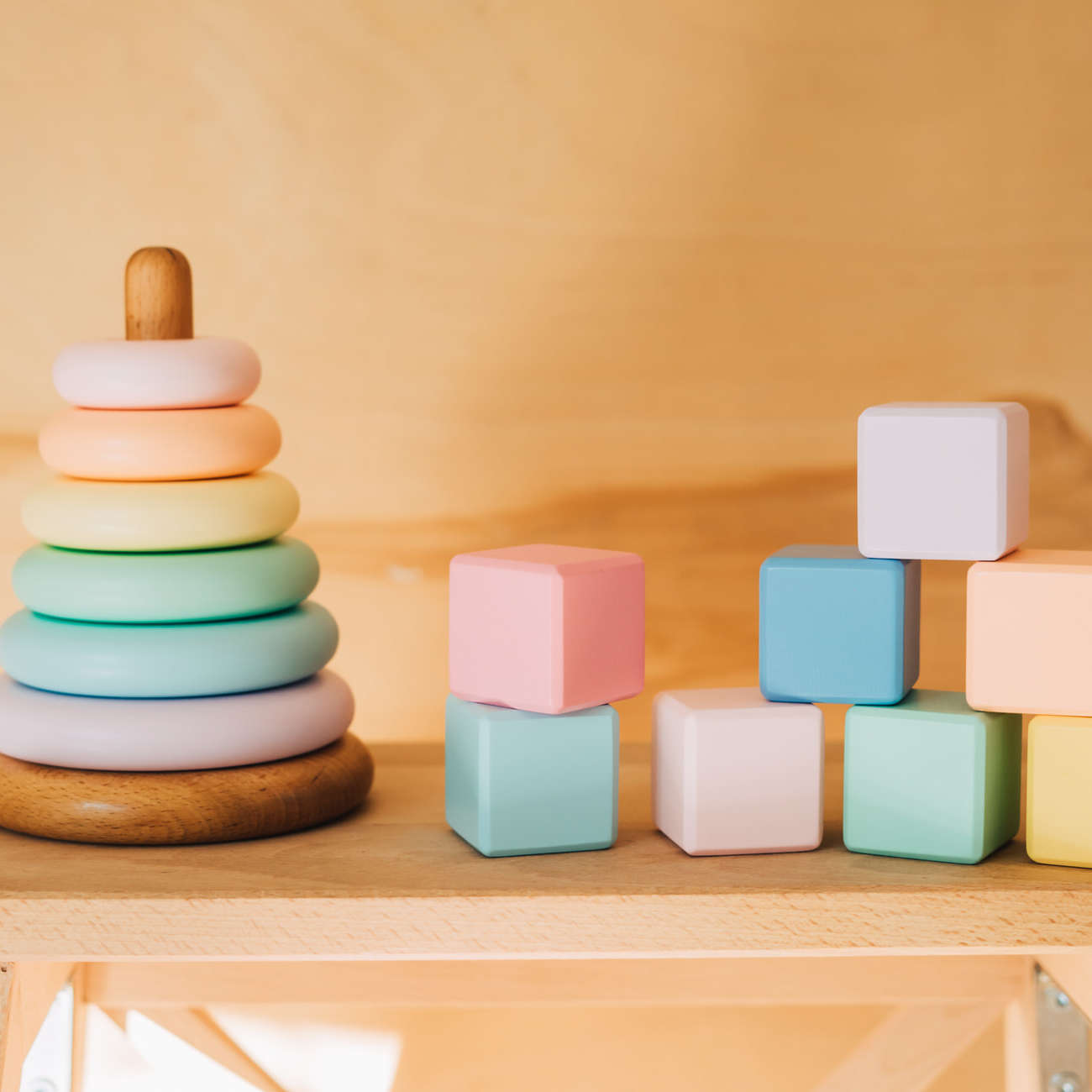 Pyramid,And,Cubes,Of,Wood,Are,Painted,In,Special,Paint.